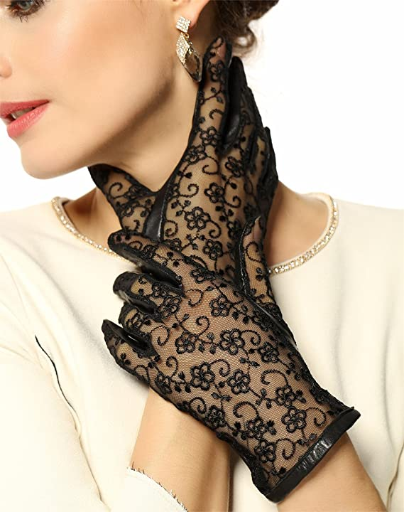 Vintage Style Gloves- Long, Wrist, Evening, Day, Leather, Lace Warmen Womens Gothic Medival Lolita Bridal Lace Evening Party Costume Dance Nappa Leather Unlined Driving Gloves $17.99 AT vintagedancer.com