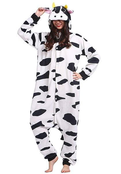Kigurumi Pijama Animal Entero Unisex para Adultos con Capucha Cosplay Pyjamas Vaca Ropa de Dormir Traje de Disfraz para Festival de Carnaval Halloween ...