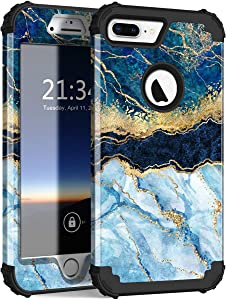 iPhone 8 Plus Case, iPhone 7 Plus Case, Hocase Heavy Duty Shockproof Protection Hard Plastic+Silicone Rubber Hybrid Protective Case for iPhone 7 Plus/iPhone 8 Plus - Blue Marble