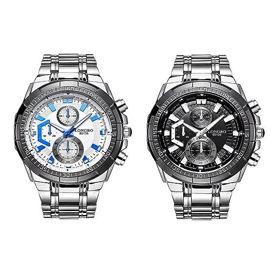 Los Relojes De Los Hombres/Banda De Acero Reloj Del Deporte Del/Resistente Al Agua Reloj/Esfera Negra-B: Amazon.es: Relojes