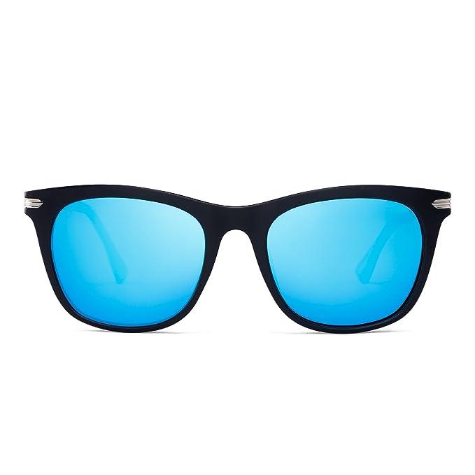 Gafas de Sol Polarizadas de Espejo Retro Cuadradas Templo de Metal Conducir Anteojos Hombre Mujer(