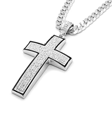 Mens silver tone black outline iced out cross pendant hip hop 30 mens silver tone black outline iced out cross pendant hip hop 30quot 10mm cuban aloadofball Images
