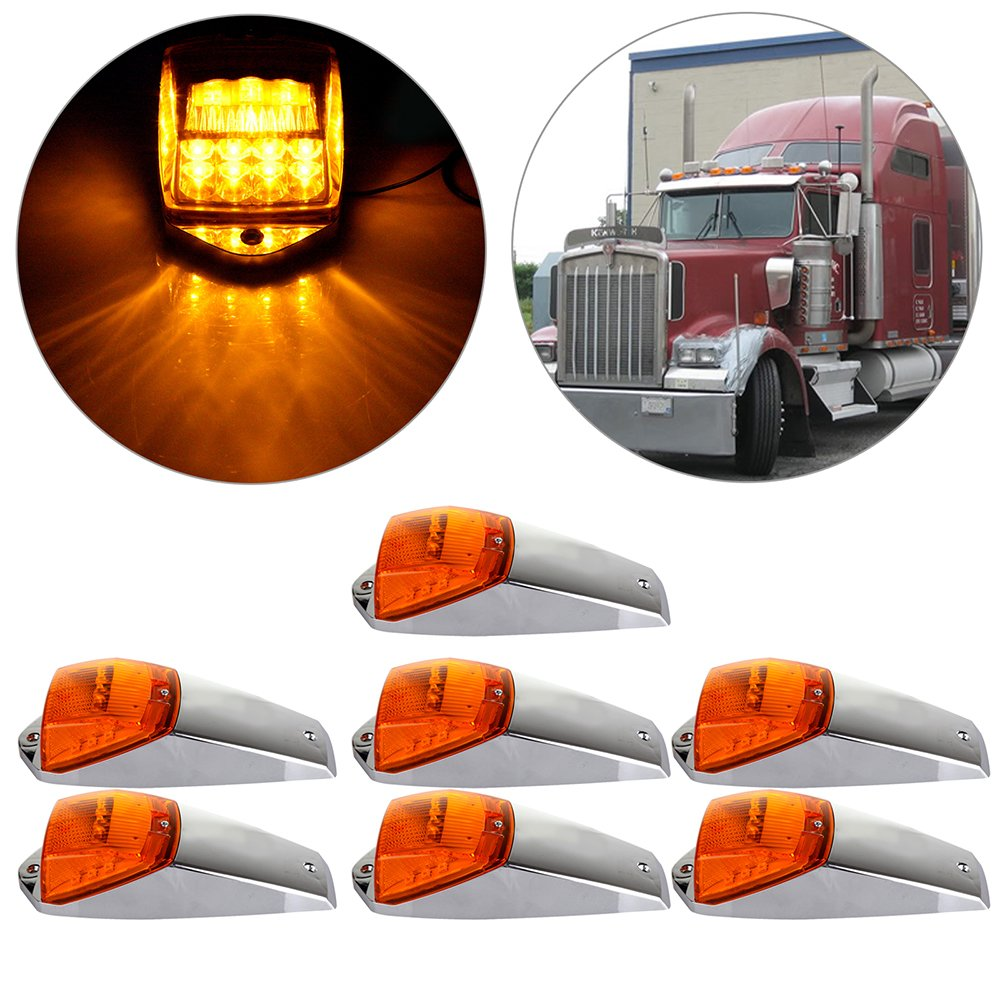 CCIYU 7 Pack Amber Light 17LED Top Roof Marker Lights Clearance Cab Marker Lights w/ Chrome Base for Truck Trailer Peterbilt Kenworth Freightliner 811466-5210-1334021