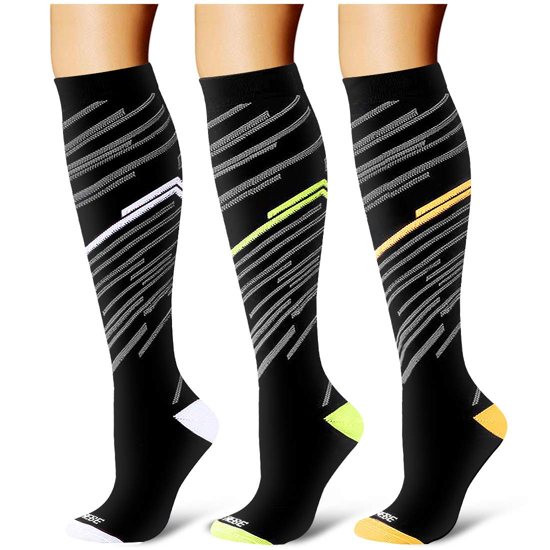 Laite Hebe Compression Socks,(3 Pairs) Compression Sock Women & Men - Best Running, Athletic Sports, Crossfit, Flight Travel£¨Multti-colors13-S/M£ by Laite Hebe