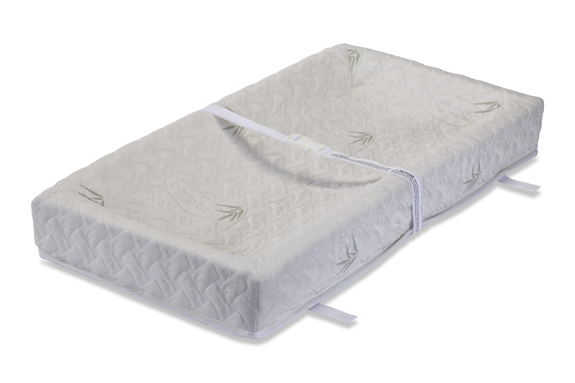 LA Baby 4 Sided Changing Pad w/Blended Viscose Bamboo Quilted Cover, 32'' - Made in USA. Easy to Clean w/Non-Skid Bottom, Safety Strap, Fits Standard Changing Tables for Best Infant Diaper Change