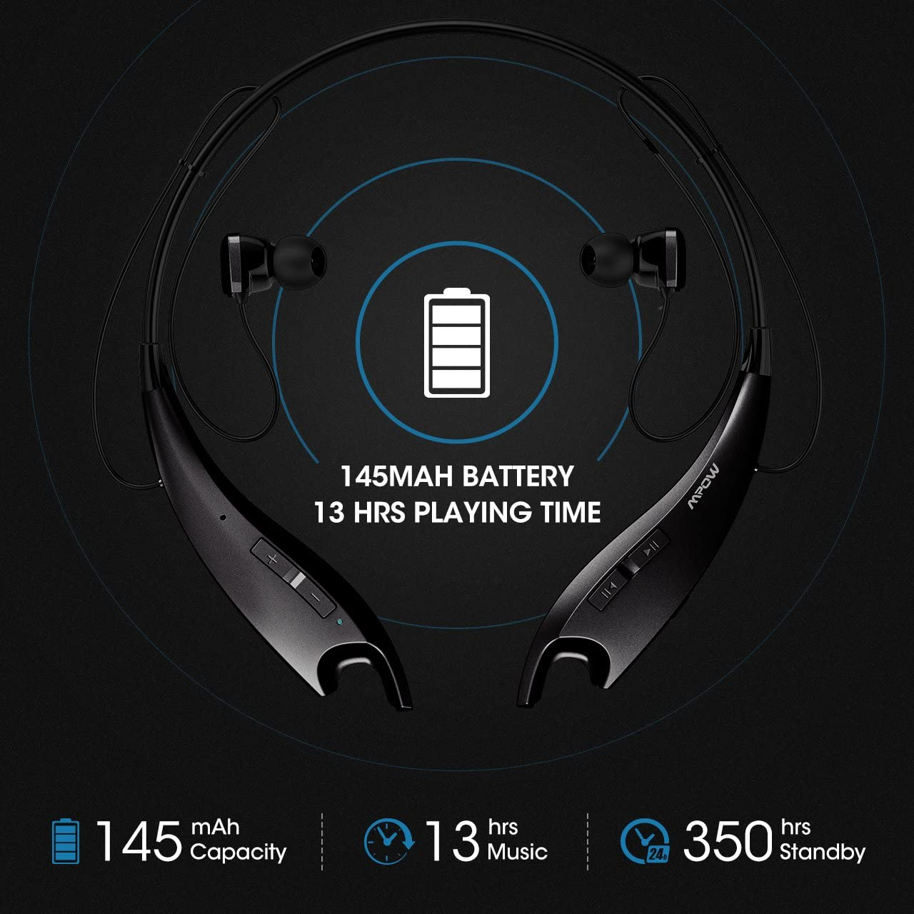 Mpow Jaws Gen-3 Bluetooth Headphones, Wireless Neckband Headphones 13H Playtime, Bluetooth Headset W Call Vibrate Alert CVC 6.0 Noise Cancelling Mic, Bluetooth Earbuds Magnetic, Black