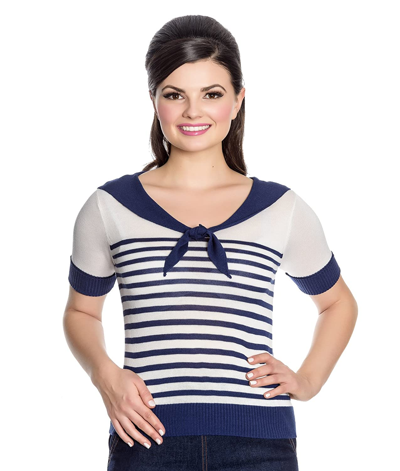 Rosie the Riveter Costume & Outfit Ideas Hell Bunny 50s Coco Nautical Collar Striped Knit Top £20.39 AT vintagedancer.com