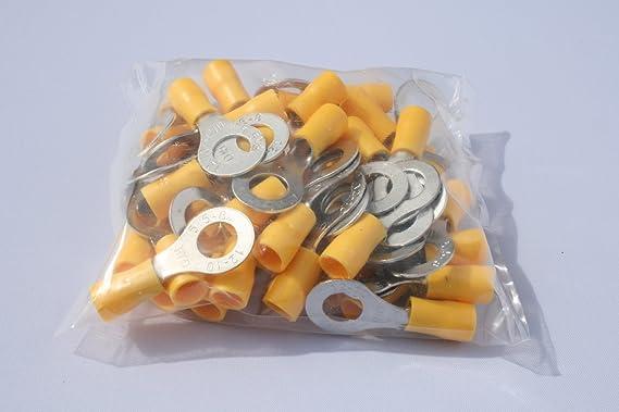 Profitec 50 Stück Kabelschuh Ring M 8 Gelb Für Kabel Elektronik