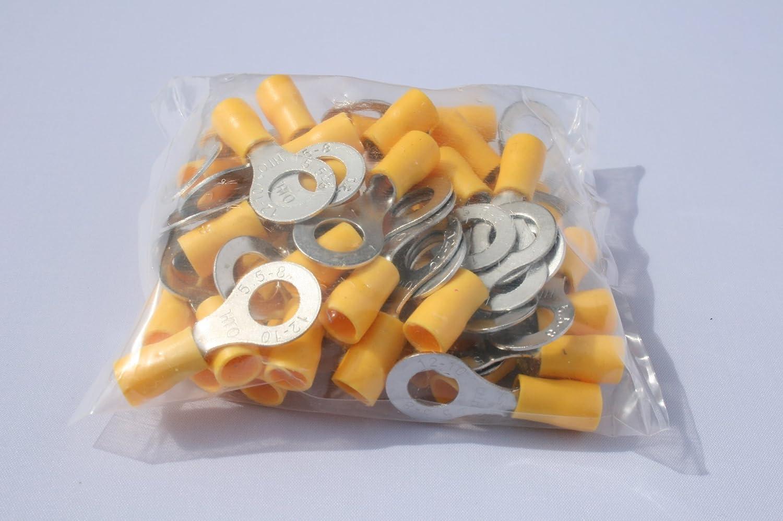 50 Stück Kabelschuh Ring M 8 gelb für Kabel 4, 0 mm²- 6, 0mm² profitec RV 558