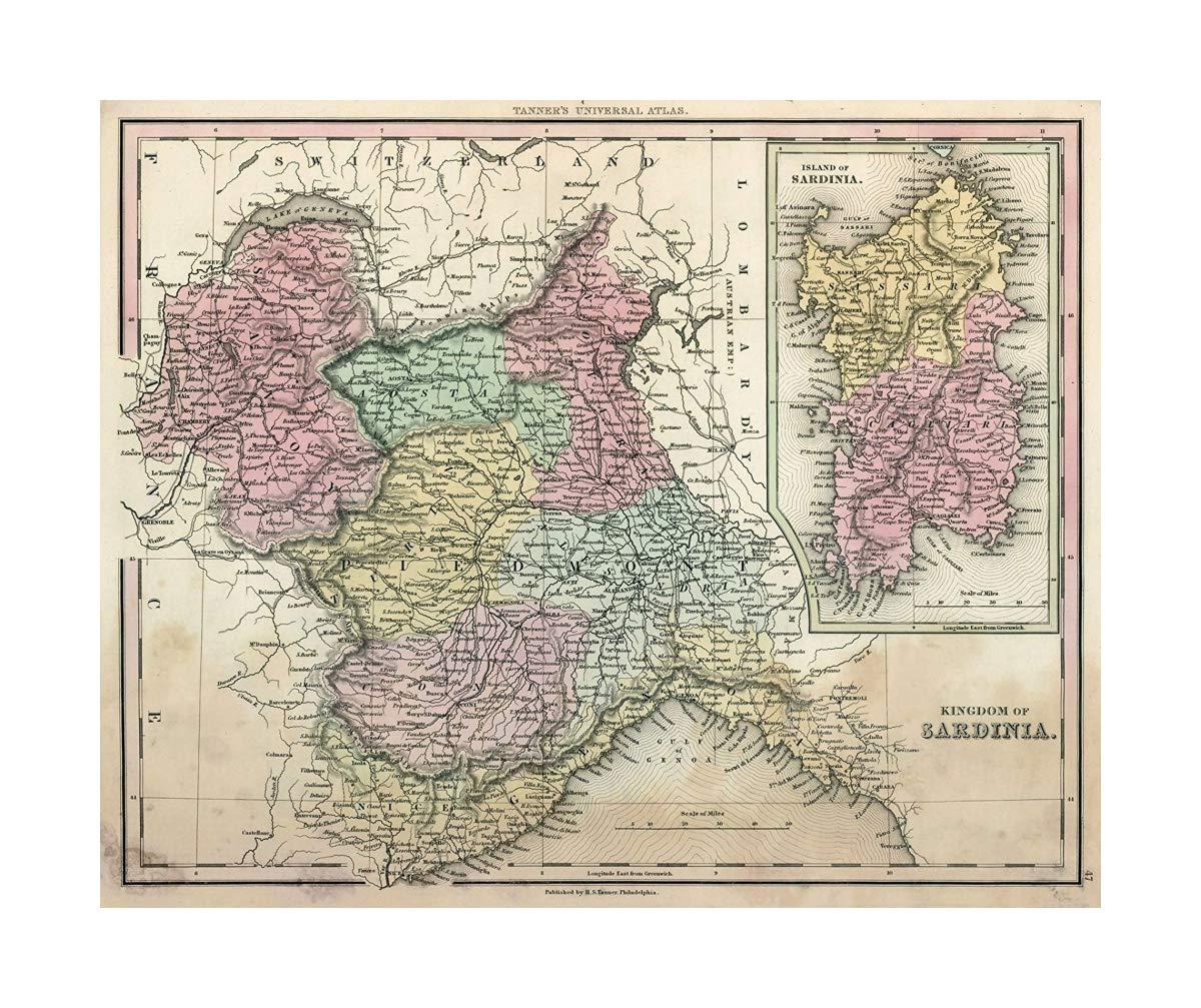 Amazon Com Map World Atlas Kingdom Of Sardinia 1836 Vintage Fine