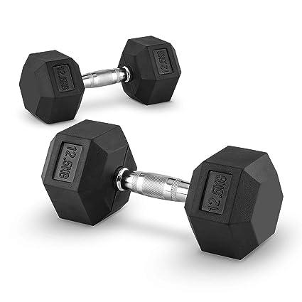 Capital Sports Hexbell 12,5 Mancuernas 12,5kg (Par de pesas cortas de