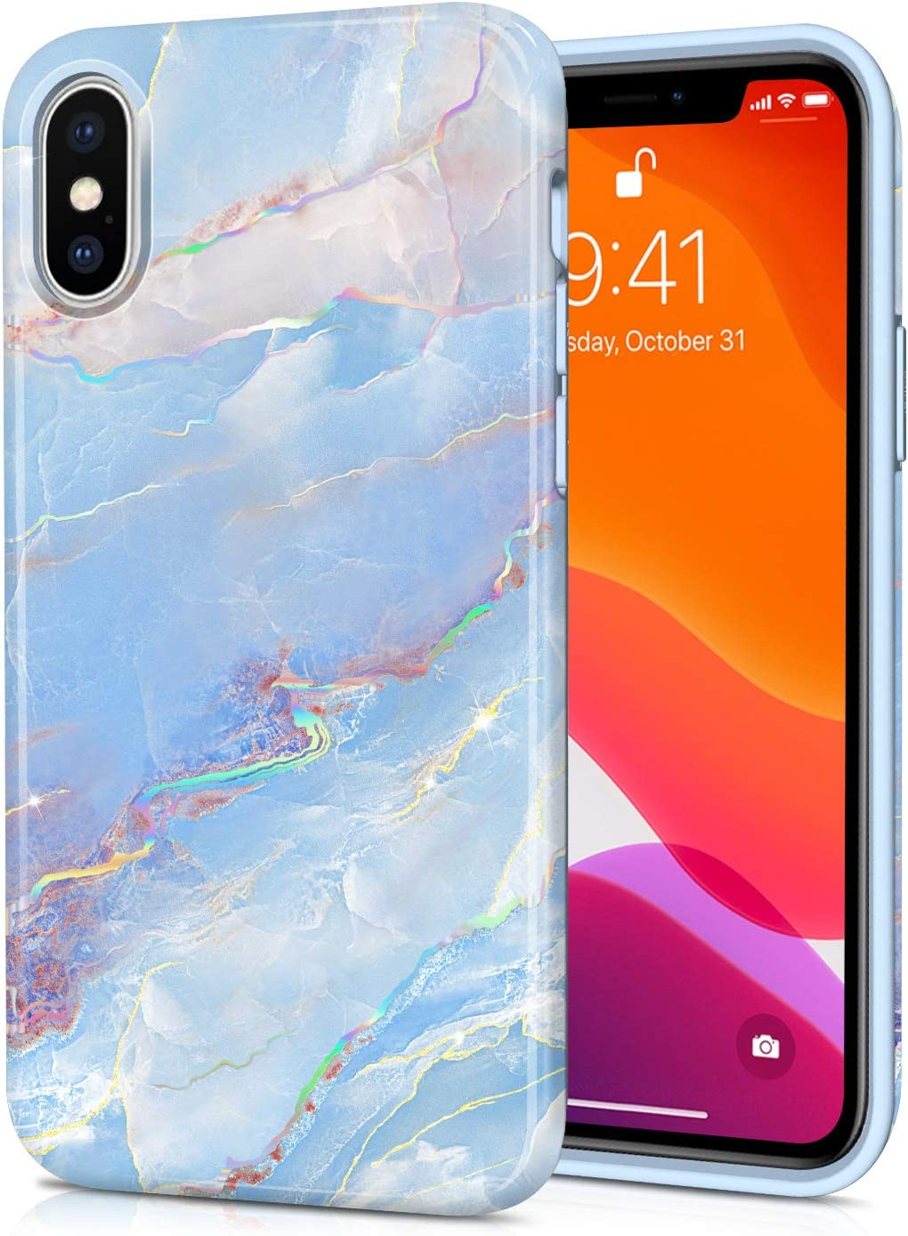 CAOUME iPhone X iPhone Xs Case Blue Marble Design Sparkly Glitter Protective Stylish Slim Thin Cute Holographic Cases for Apple Phone, Soft TPU Silicone Bumper Defender Camera Screen