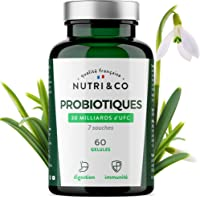 Probiotiques 30 Milliards d' UFC par Dose (2/j) | 7 Souches Bactériennes Humaines | 60 Gélules Végétales Gastro-Résistantes | Bactéries Garanties Vivantes | Fabriqué en France par Nutri&Co ®