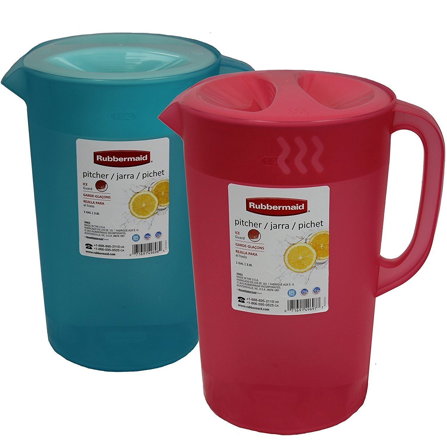 Rubermaid B01IDSBI9W Rubbermaid 2pk Classic Pitcher, Pack of 2 Colors, 1 Gallon, Red/Blue