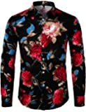 ZEROYAA Men's Floral Slim Fit Long Sleeve Stretch Casual Button Down Dress Shirt