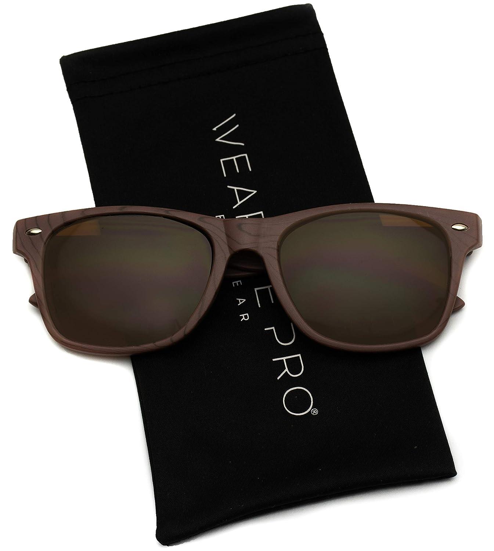 207ba527081 Amazon.com  Faux Wood Reflective Color Lens Horn Rimmed Sunglasses (Dark  Wood Print