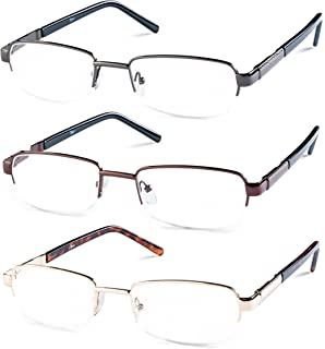 9e87d7ce283 Amazon.com  Half Rimmed Rectangular Reading Glasses For Mens - Free ...