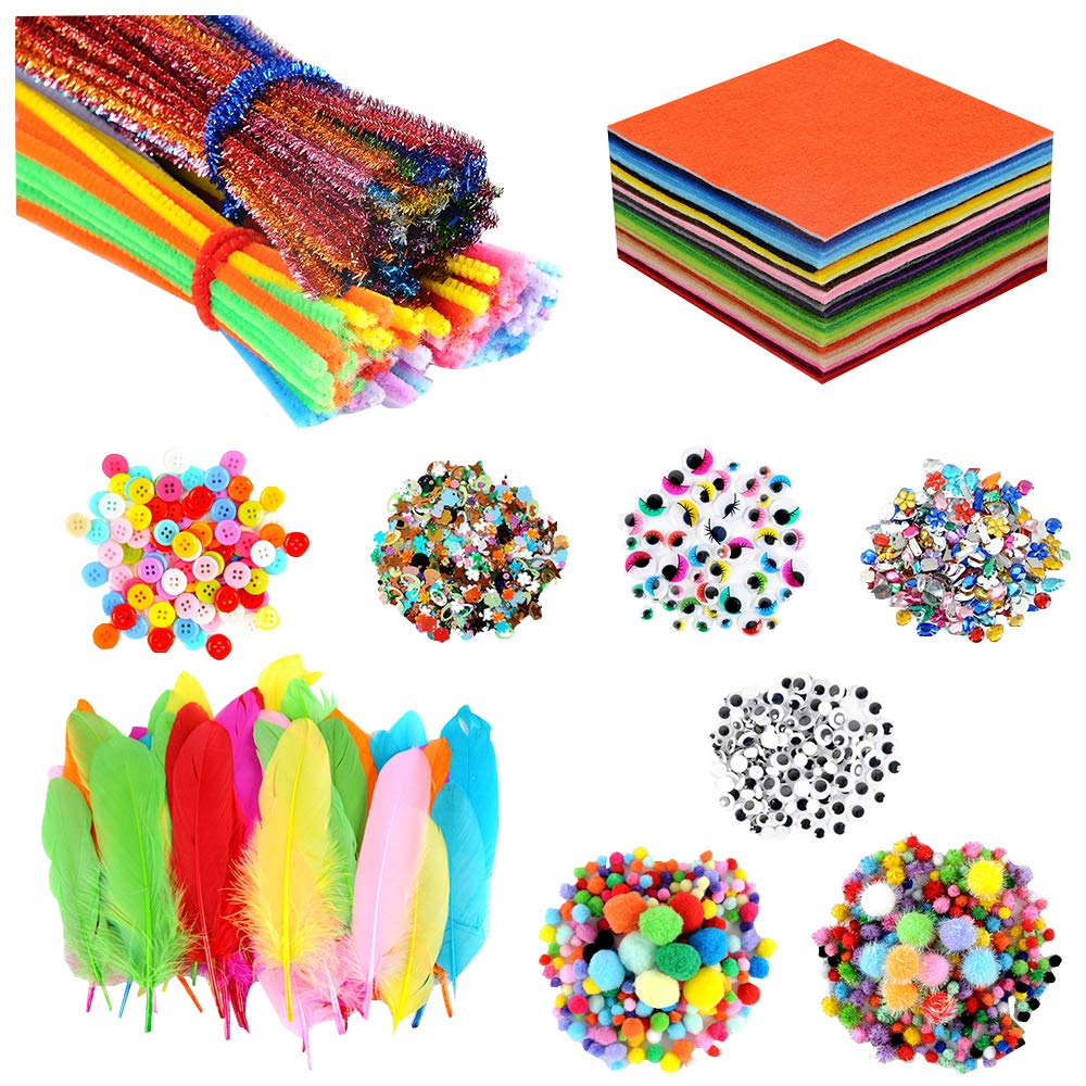 Art and Craft Kit Supplies for Kids DIY Pipe Cleaners & Chenile Chenille Stems, 6''x6'' Felt Fabric Sheet,Pom Poms, Wiggle Googly Eyes, Feather, Buttons, Rhinestones, Sequins by YUEAON