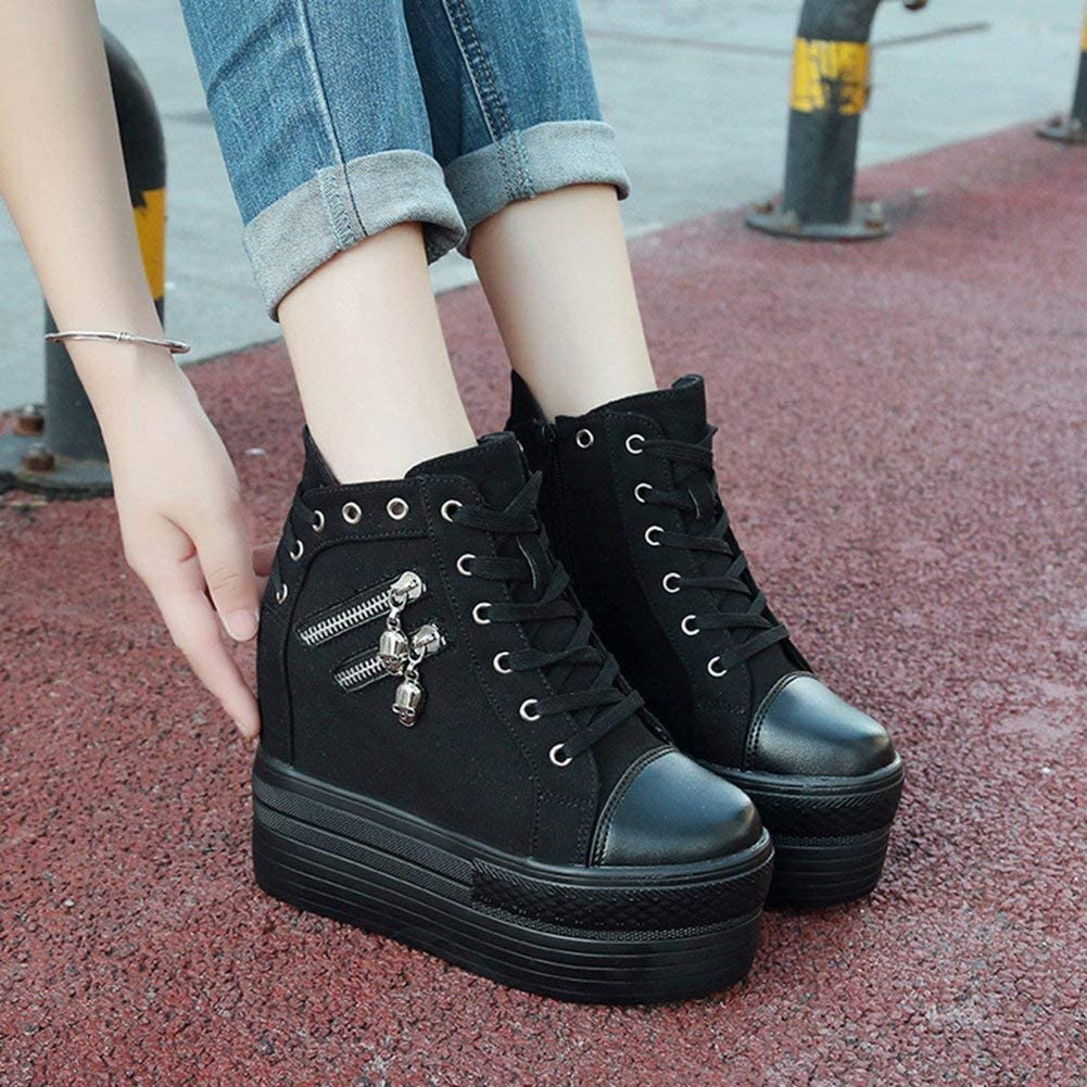 Women Sneaker Zipper High Top Hidden Heel Fashion Shoes Increase Height Platform Black