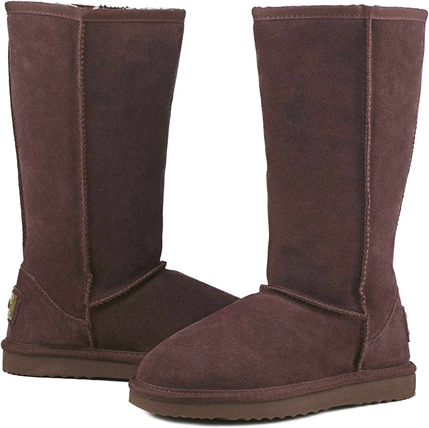 Ausland Womens Classic Leather Snow Boots Tall Winter Shoes A5815