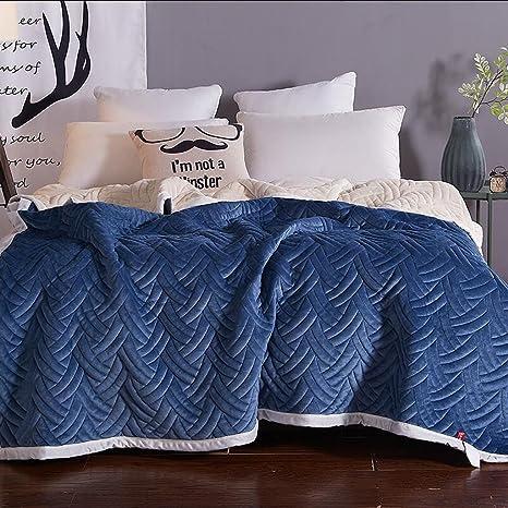 Xuan - worth having Engrosamiento de la manta azul Mantener caliente Invierno Estudiante Dormitorio Toalla Edredón