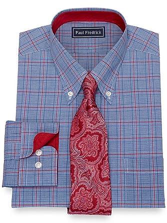 Paul Fredrick Mens Cotton Glen Plaid Mitered Button Cuff Dress Shirt