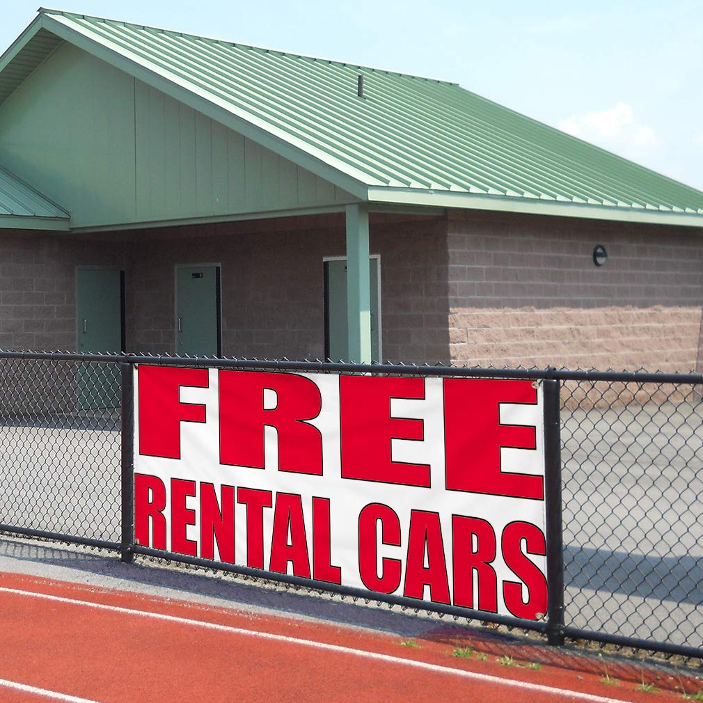 48inx96in 8 Grommets Vinyl Banner Sign Free Rental Cars #2 Business Free Marketing Advertising White One Banner Multiple Sizes Available