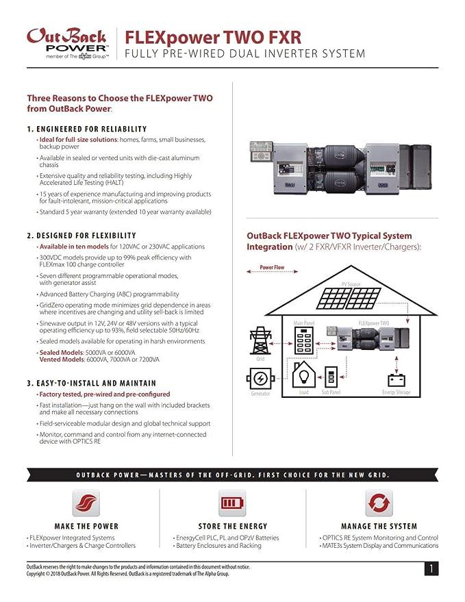 Outback Power flexpower dos FP2 vfxr3648 a 7,2 kW inversor de pre ...
