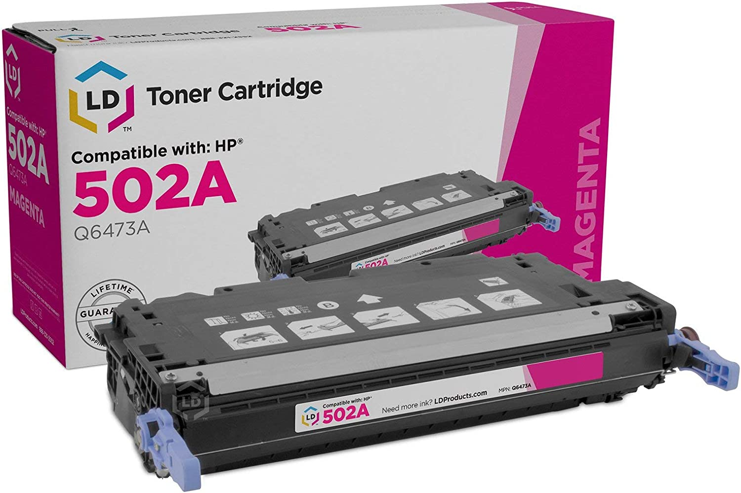 LD Remanufactured Toner Cartridge Replacement for HP 502A Q6473A (Magenta)