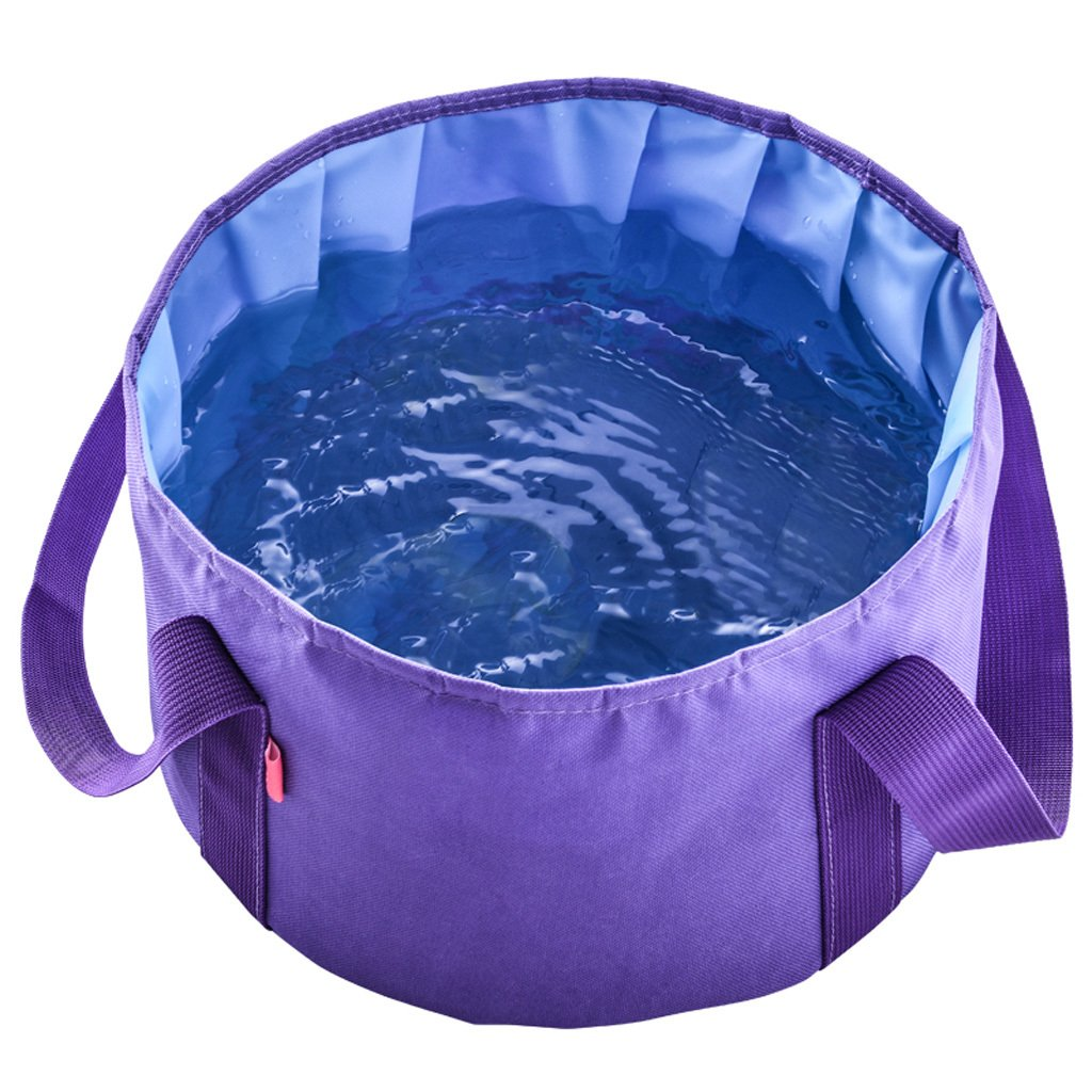 Pêche Camping essentiel bassin pliant portable ultra-léger Voyage en plein air seau grande capacité laver votre bassin pieds visage (violet) (Envoyer le même sac) outdoor product