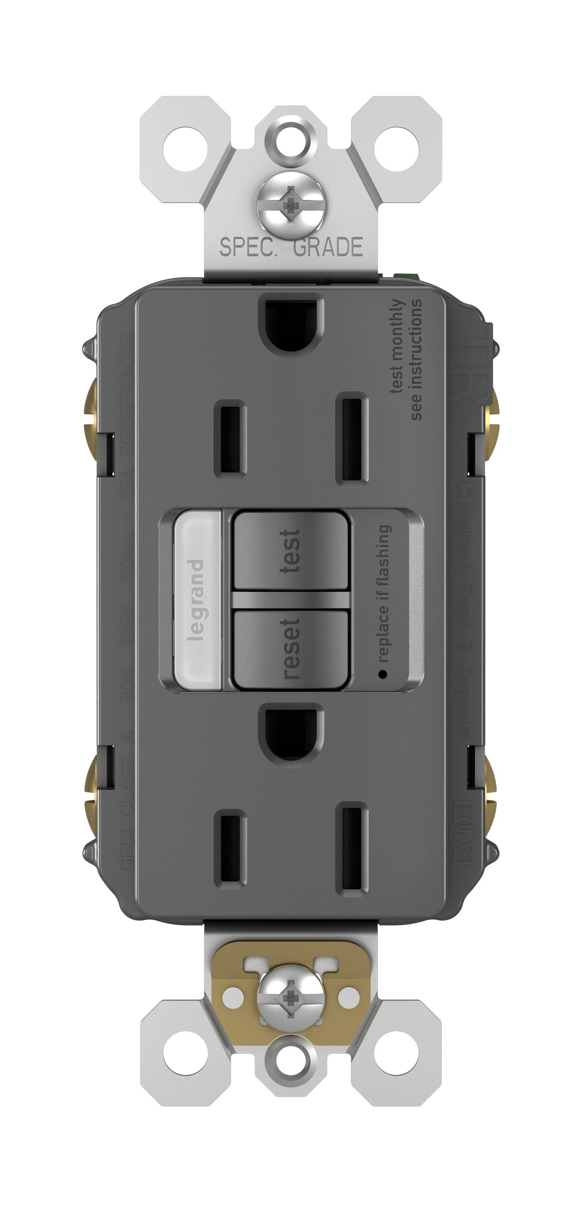 Legrand - Pass & Seymour radiant 1597NTLTRBKCCD4 Tamper-Resistant 15 Amp Night Light/Self-Test GFCI Outlet, Black