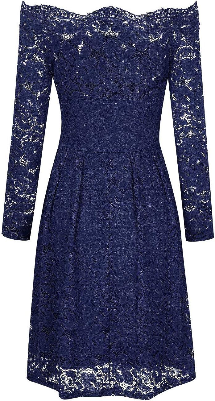 KOJOOIN Damen Vintage Spitzenkleid Festliche Abendkleider Cocktailkleid Brautjungfernkleider f/ür Hochzeit Kurzes Midikleid(Verpackung MEHRWEG)