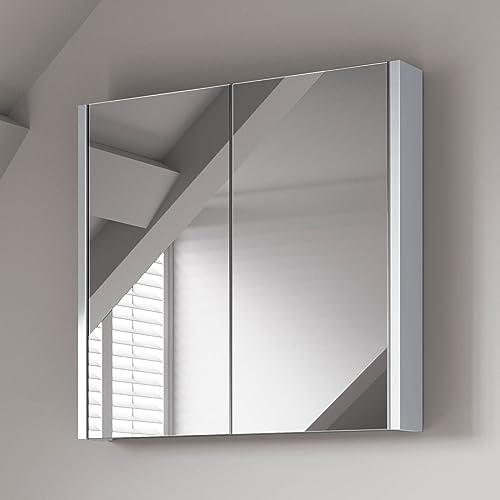 iBathUK 600 x 650 mm Modern Gloss White Bathroom Mirror Cabinet Storage Furniture MC30