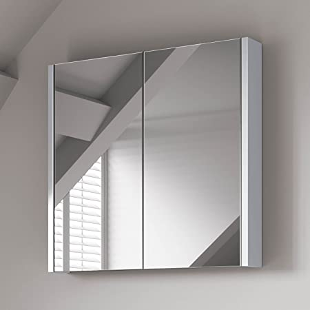 600 X 650 Mm Modern Gloss White Bathroom Mirror Cabinet Storage
