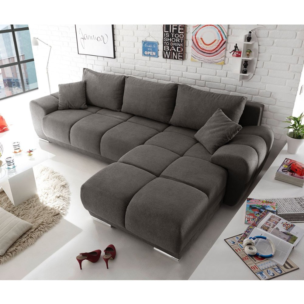 Furny Fabric and Wooden Casaprime L Shape Sofa (Grey)