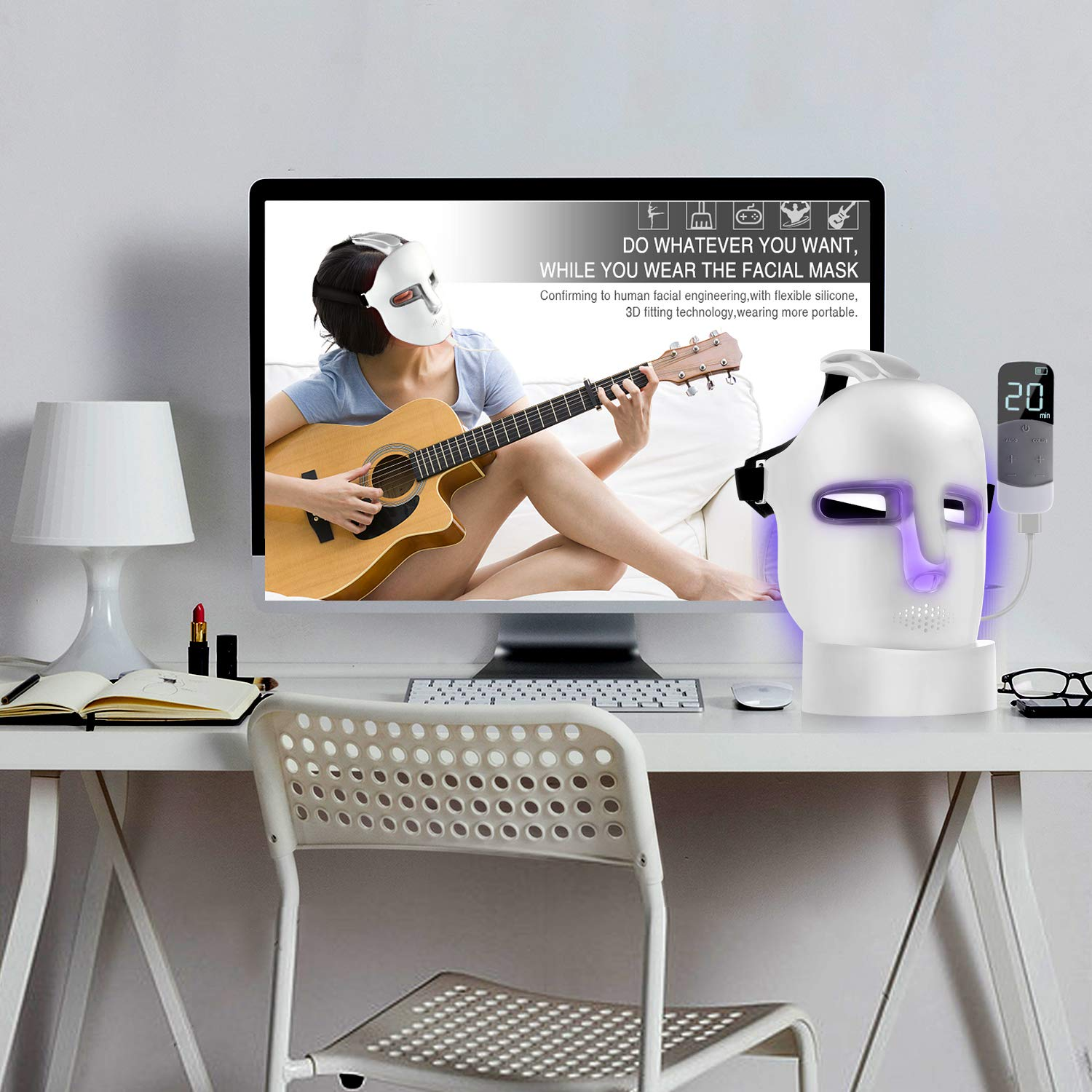 NEWKEY Led Light Therapy Facial Mask - Uses Newest Red/Blue/Yellow Light Therapy For Skin Rejuvenation|Whitening|Anti Aging|Smoothening Wrinkles|Weakening Scarring|Lighter Weight and More Comfortable by NEWKEY (Image #7)