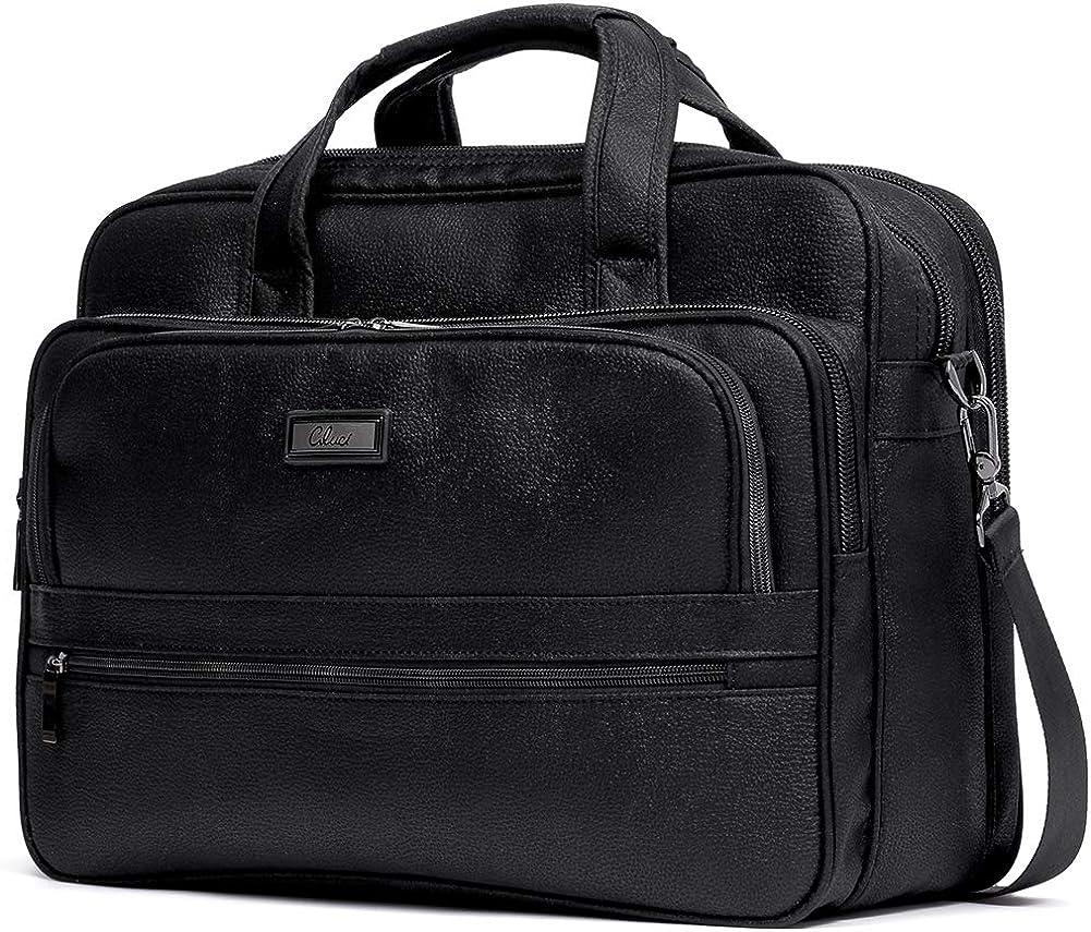 CLUCI Briefcase for Men Laptop Bag 15.6 Inch Business Large Lightweight Travel Canvas Water-Resistant Computer Shoulder Bag Black
