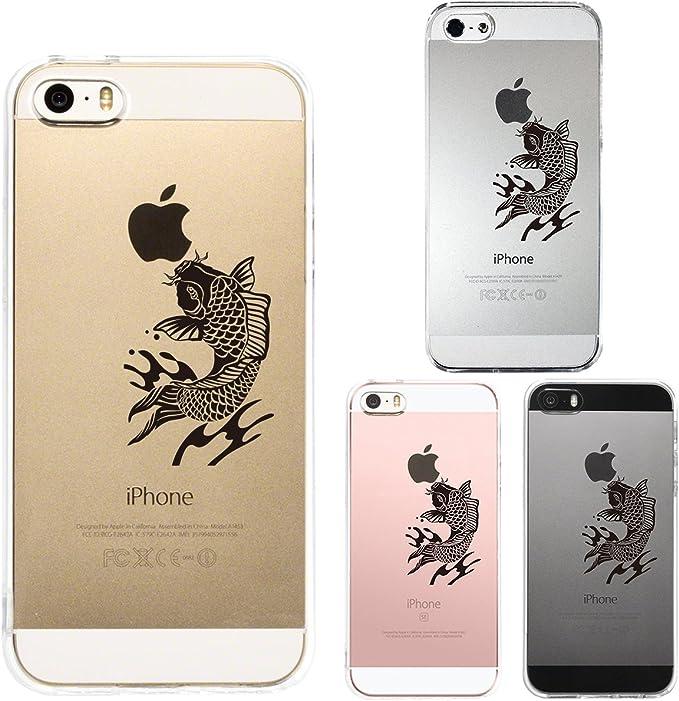 GJ-JAPAN Coque Iphone Se Iphone5s /5 Noir Carpe Anti-Rayure Arrière Transparent pour Iphone Se Iphone 5s /5