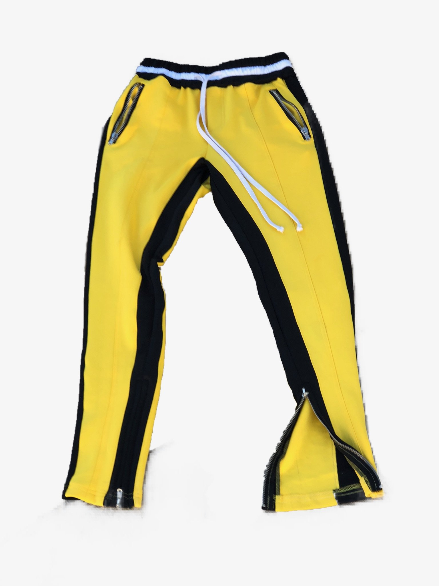 Yellow/Black Double Striped Fear of God Inspired Trackpants w/ RIRI Zippers