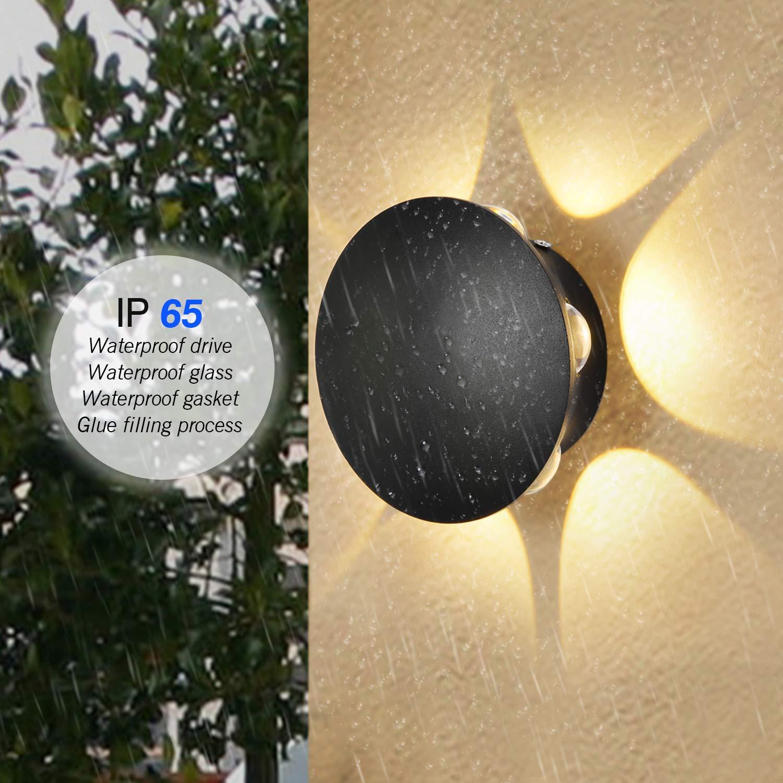 Blanco C/álido, 1W*6 Asvert Aplique de pared para exterior redonda aluminio IP65 a prueba de agua l/ámpara de iluminaci/ón para Exterior