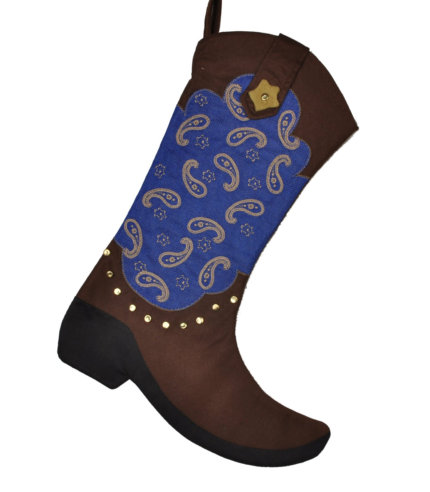 Love Wind Western Cowboy Christmas Boot Stocking 18'' Gift Kids Fireplace Decor with Embroidered Patern 1pcs