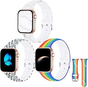 [3 Pack] Rainbow Bands Compatible with Apple Watch Band 38mm 40mm, Soft Silicone Fadeless Baseball Holes Pattern Printed Replacement Sport Bands for iWacth SE & Series 6 5 4 3 2 1 for Women/Men Marble