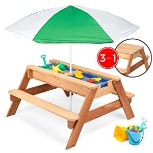 Best Choice Products Kids 3-in-1 Outdoor Wood Activity/Picnic Table with Umbrella and 2 Play Boxes