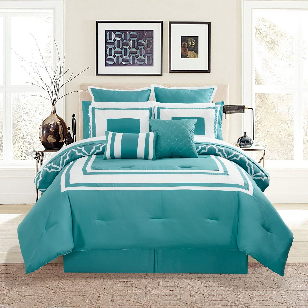 12 Piece Bernard Aqua Comforter Set with Sheets Full