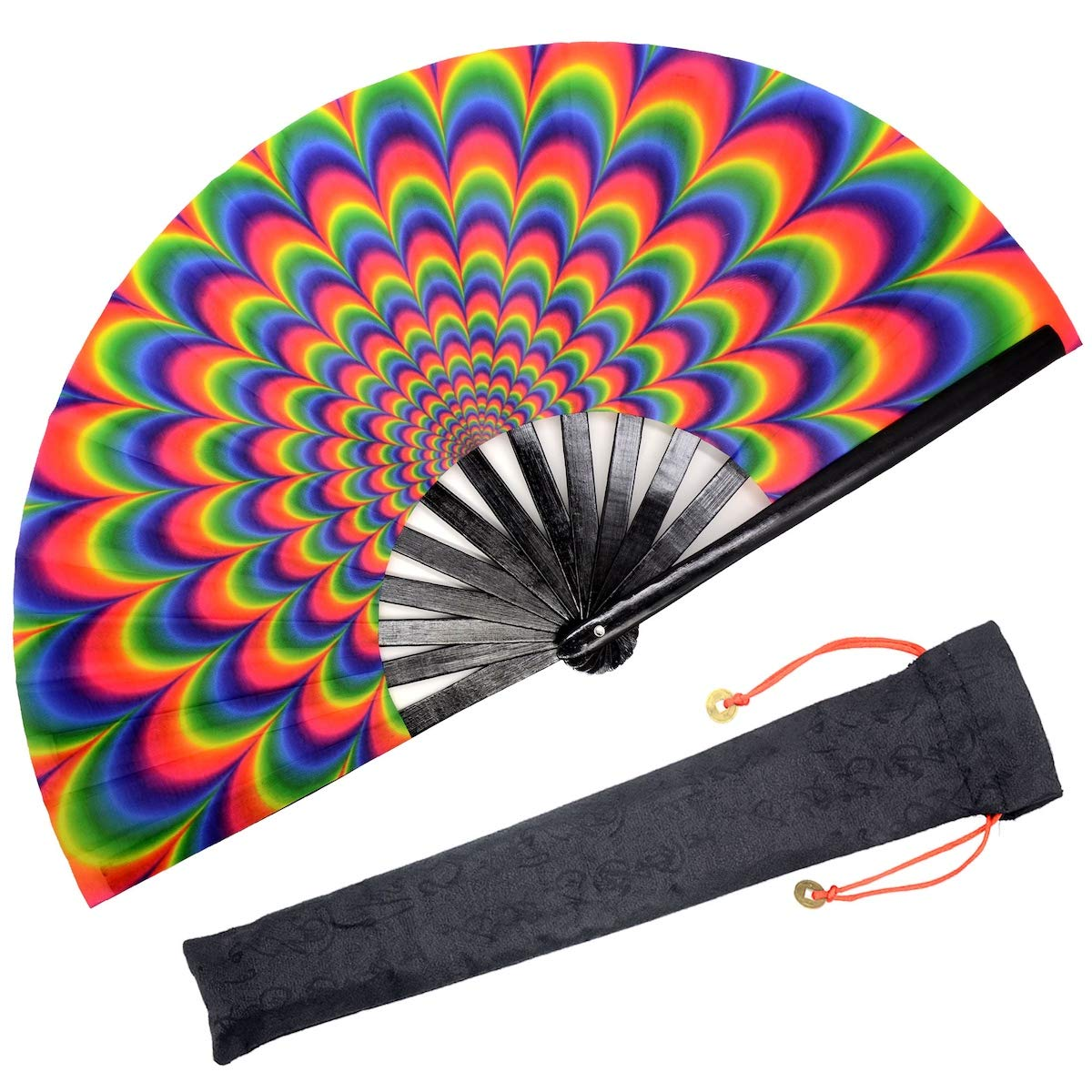 OMyTea Bamboo Large Rave Folding Hand Fan for Men/Women - Chinese Japanese Handheld Fan with Fabric Case - for Electronic Dance Music Festival Party, Performance, Decorations, Gift (Trippy)