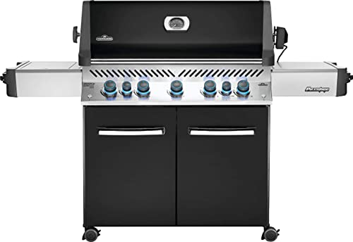 Napoleon P665RSIBPK Prestige 665 RSIB Propane Gas Grill, sq. in Infrared Side and Rear Burner, Black