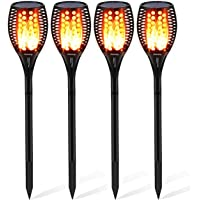 4-Pack Woenergy Solar Warm Outdoor Flickering Flame Torch Lights