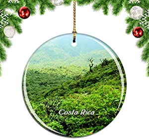 Weekino Costa Rica Monteverde Cloud Forest Reserve Christmas Xmas Tree Ornament Decoration Hanging Pendant Decor City Travel Souvenir Collection Double Sided Porcelain 2.85 Inch
