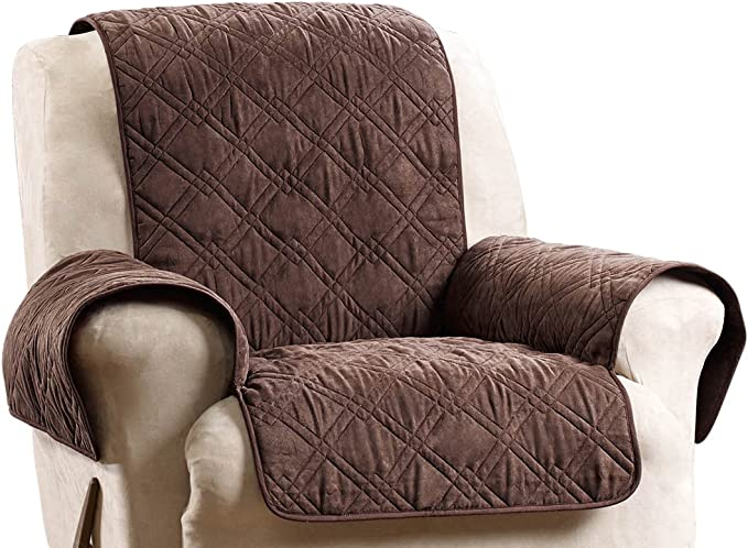 SureFit Deluxe Non Skid Waterproof Pet Recliner Furniture Cover, Chocolate