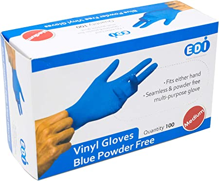 1000 Disposable Powder Free Clear /& Blue Vinyl Gloves Food Medical Surgical